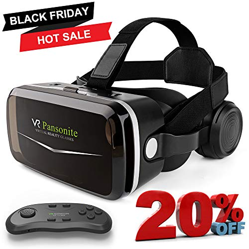 [2018 Upgrade Version] Pansonite VR Headset with Remote Controller,3D Virtual Reality Goggles for Movies & Video Games, Light Weight & Eye Protection Mechanisms for Smartphones Within 4.7-6.0 Inch