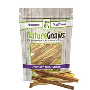 """Nature Gnaws Extra Thin Bully Sticks 5-6"""" - 100% Natural Beef Chew Treats for Small Dogs 8"""