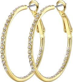 SUPRAONE 1 Pair Hoop Earrings for Women - 14K Rose Gold Plated Hypoallergenic Lightweight CZ Big Hoop Earrings Set (35MM)
