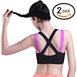 Product review for HeartFor Racerback Sports Bras For Women - Padded High Impact Workout,Pack Of 2