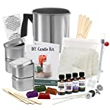 Complete DIY Candle Making Kit Supplies - Create Large Scented Soy Candles - Full Beginners Set Including 2 LB Wax, Rich Scents, Dyes, Wicks, Melting Pitcher, Tins & More