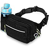 Aocharm Fanny Pack with Water Bottle Holder Black Hiking Waist Bag Pack for Men Women Outdoors Running Camping Travel & Dog Walking Fit 6.5 inches Large Cell-Phone