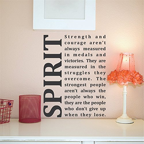 Vinyl wall lettering stickers quotes and saying Spirit Strength and Courage aren't always measured in medals and victories for living room