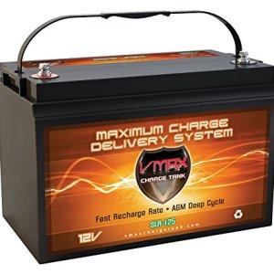 Vmaxtanks SLR125 AGM 12V 125ah Battery for Solar Wind Power Emergency Backup Generator PV panel or Charger AGM 12V VMAX Battery (12 Volt 125Ah Group 31 AGM Solar Battery)