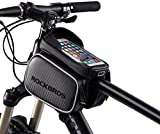 RockBros Bike Bag Waterproof Top Tube Phone Bag Front Frame Mountain Bicycle Touch Screen Cell Phone Holder Pouch Compatible with iPhone X, 8 Plus 7 Below 6.2'