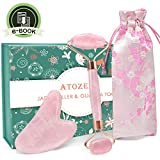 Rose Quartz Jade Roller and Gua Sha Set, 100% Real Jade Roller for Face Anti Aging Face Stone Massage Roller For Slimming & Firming, Rejuvenate Skin & Remove Wrinkles