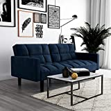 DHP Hayden Convertible Sofa Sleeper Futon with Arms - Blue Microfiber