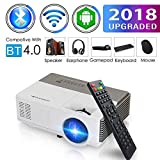 Pocket Bluetooth WiFi Wireless Mini Projector with HDMI Built-in Speaker Support 1080p HD Airplay Screen Mirror, Multimedia Digital Portable Video Projector for Gaming Basement Movie Art Tracing