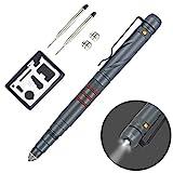 Aotedor EDC Tactical Pen Flashlight - Window Glass Breaker, Ballpoint Pen + 2 Ink Cartridges + 2 Batteries - Gray