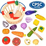BATTOP Cutting Food Wooden Set with Basket - Magnetic Pretend Play Food Kitchen Toys for Kids