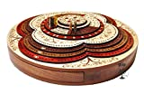 Palm Royal Handicrafts - 4 Track Cribbage Board Made with Bloodwood / Maple / Rosewood / Teak Wood . 3D Cribbage Board . 4 Track Continuous Cribbage Board . 8 Steps .