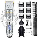 GOOLEEN Hair Clippers for Men Cordless Hair Clippers Beard Trimmer Professional IPX7 Waterproof USB Rechargeable Hair Cutting Kit with Hairdressing Cape LED Display
