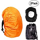 KIKAL Waterproof Backpack Rain Cover(2-Pack), 30-40L Lightweight Durable Elastic Adjustable Rucksack Water Resist Cover for Camping,Hiking,Climbing,Cycling and Other Outdoor Activities, Black+Orange