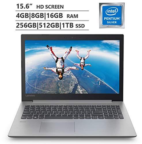"""2019 Lenovo Premium 15.6"""" HD Laptop, Intel Pentium Silver N5000 Quad-Core Up to 2.7 GHz, 4Gb 8Gb 16Gb Ram, 256Gb 512Gb 1Tb SSD, Wireless-AC, Bluetooth, Windows 10, Platinum Gray"""
