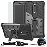 BestAlice for Nokia 6.1 Case/Nokia 6 2018 Case (Not Fit for Nokia 6'), Hybrid Heavy Duty Protection Kickstand Armor Case Cover & Tempered Glass Screen Protector & Neck Lanyard Cord, Grey