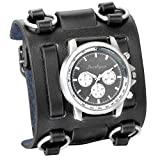 JewelryWe Black Hip-hop Gothic Punk Style Men Watch Wide Leather Fashion Cuff Wristwatch