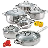 Cook N Home NC-00250 12-Piece Stainless Steel Cookware Set, Silver