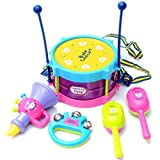 Sipring Musical Toys for Kids Baby Roll Drum Musical Instruments Band Kit Children Toy-5pcs-Random Color