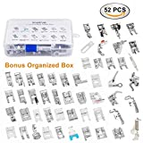 Sewing Machine Presser Feet Kit Set 52 pcs for Brother, Babylock, Singer, Janome, Elna, Toyota, New Home, Simplicity, Necchi, Kenmore, and White Low Shank Sewing Machines