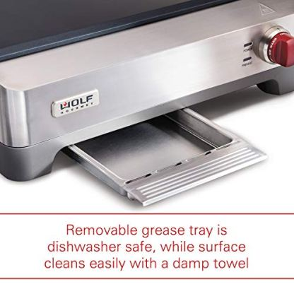 Wolf-Gourmet-Precision-Electric-Griddle-Indoor-Grill-200-sq-in-Nonstick-Coating-Advanced-Temperature-Control-Stainless-Steel-Red-Knob-WGGR100S