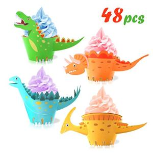 Howaf Dinosaur Cupcake Wrappers Toppers(48Pack), Little Dino Cupcake Toppers Cake Table Decorations Party Supplies for Boys Kids Birthday Party Decor Favors-Tyrannosaurus Monoclonius Triceratops 51ShVdsVjeL