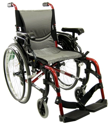 Karman S-ERGO 305 Lightweight Ergonomic Wheelchair S-Ergo305Q18RS, 29 lbs., Quick Release Wheels, Frame Rose Red, Seat Size 18'W X 17'D, Factory Adjustable Seat Height (Default 19' Floor To Seat)