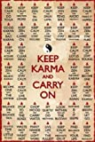 Keep Calm Keep Karma Eastern Spiritual Motivational Poster 24 x 36 inches