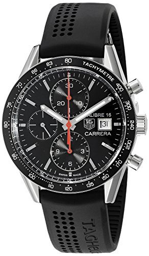 51Sic6Nba4L Polished stainless steel case (41 mm in diameter, 16 mm thick), Tag Heuer logo at the 3 o'clock position, , Date window at the 3 o'clock position Chronograph function features a center seconds hand, 30 minute counter at the 12 o'clock position and 12 hour counter at the 6 o'clock position, Swiss-automatic Movement