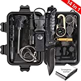 Puhibuox Emergency Survival Kit, 14 in 1 Survival Gear Kit Gift for Men Him, Tactical Defense Equitment Tool for Camping, Hiking, Hunting, Adventure Accessories