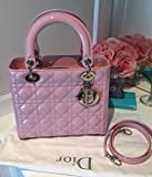 Christian Dior Black Lady Dior Cannage Patent Leather Medium Tote Bag