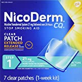 NicoDerm CQ Nicotine Patch, Clear, Step 1 to Quit Smoking, 21mg, 7 Count