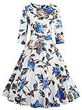 Women's Dress 3/4 Sleeve Calf-Length Retro Floral Vintage Dress Audrey Hepburn Style Blue Small Size