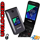 Flip Phone 4G LTE GSM Alcatel QuickFlip (Cricket 4044C) Unlocked BIG BUTTONS + Extrenal LCD Bluetooth WIFI Mp3 Camera SOS Elderly