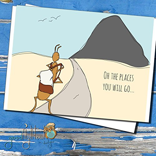 Oh The Places You Will Go- Cute Encouragement Card - Hand Illustration - Greeting Card -Travel Card- Friend Card - New Job Card