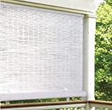 LH Lewis Hyman 3320136 36' W x 72' L Cordless White PVC Roll Up Patio Blinds - Quantity 2