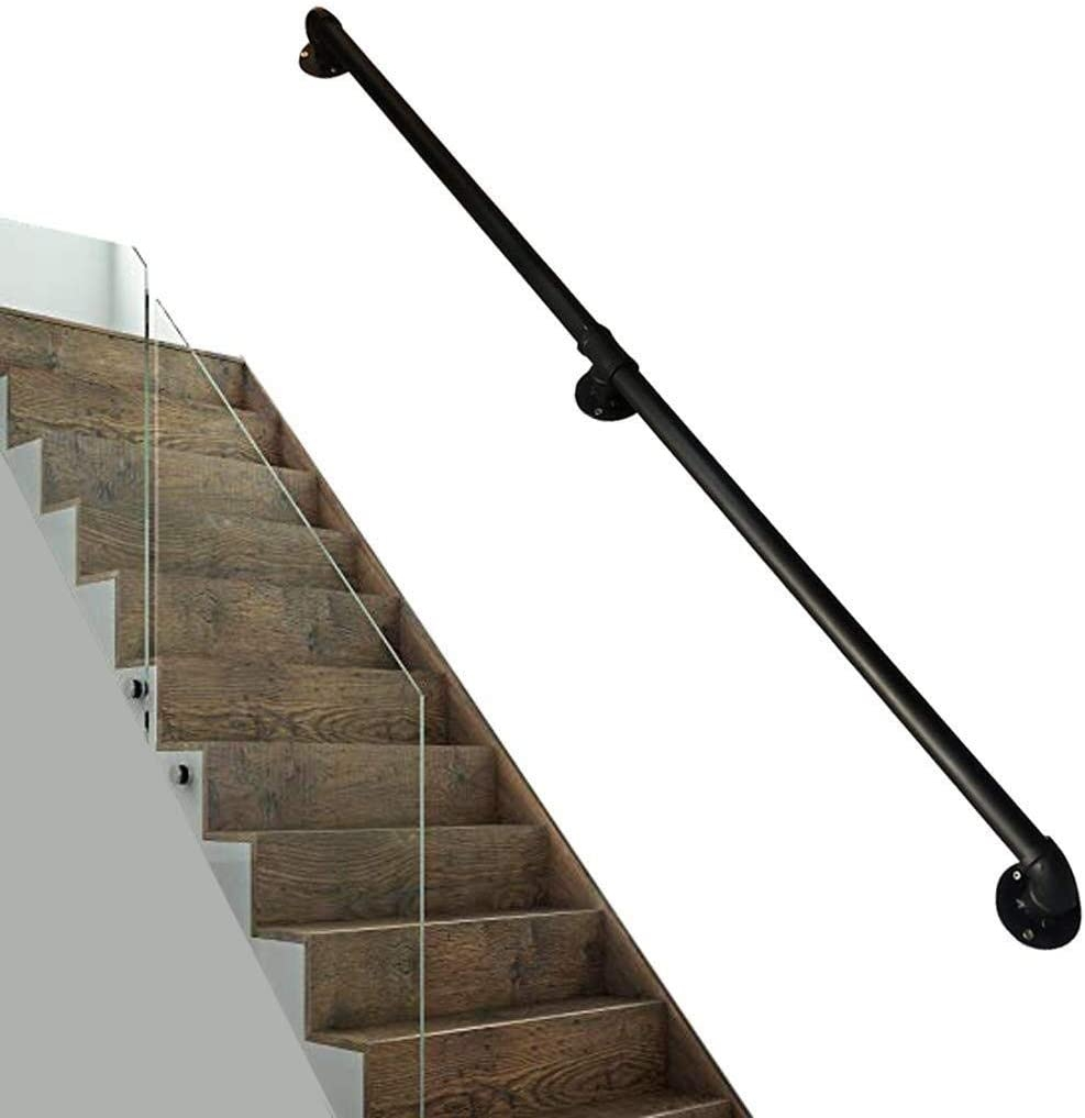 Zsmpy Household Wall Wrought Iron Pipe Simple Modern Stair Railing   Iron Pipe Stair Railing   90 Degree Stair   Simple Pipe   Box Pipe   Reclaimed Wood Stair   Thin Metal