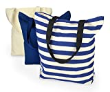 DII 100% Cotton, Machine Washable  Heavy Duty Canvas Reusable Shopping Tote Bag, Natural and Nautical Blue Stripe, Set of 3