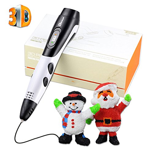 TIPEYE 2018 Newest SmartGear 06A 3D Pen for Kid 3D Printing Pen with LCD Display for Adults, Doodling, Artist, DIY, Drawing etc (06A White 3D Pen)