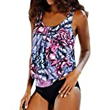 HYIRI 2019 New Women's Plus Size Printed Tankini Special Bikini Swimwear Swimsuit Bathing Suit Purple