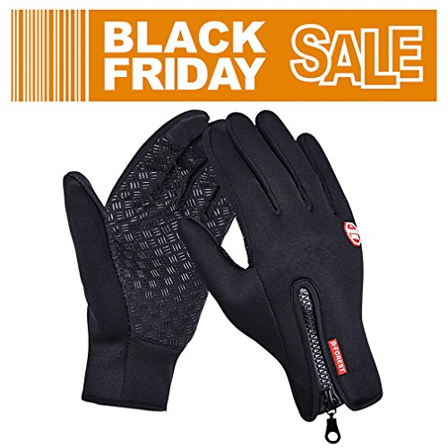 GEREE Bike Gloves, Full Finger Touchscreen in Winter Outdoor Windproof Black Cycling gel Gloves Adjustable Size (M)