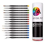 Miniature Fine Detail 15pc Paint Brush Set by LENOX ARTS – Elite Micro Series VI – No Fatigue Triangle Handle, Color Coordinated Tips - Acrylic, Watercolor, Oil, Paint by Numbers Artist Brushes