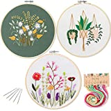 3 Pack Embroidery Starter Kit with Pattern,Kissbuty Full Range of Stamped Embroidery Kits with 3 Pcs Embroidery Cloth with Pattern,1 Pc Bamboo Embroidery Hoop,Color Threads Tools Kit (Plants Flowers)