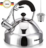 Stove Top Whistling Tea Kettle - Only 18/10 Culinary Grade Stainless Steel Teapot with Cool Touch Ergonomic Handle and Straight Pour Spout - Tea Maker Infuser Strainer Included