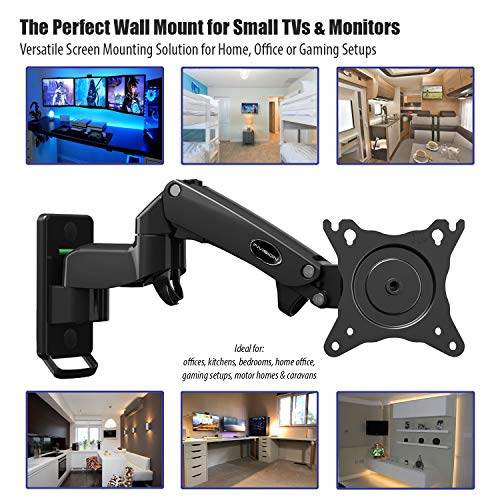 Invision Monitor Wall Mount Bracket for PC Monitor & TV – To Fit Screens 17 to 27 inch – Ergonomic Height Adjustable Single Arm Tilt Swivel & Rotate – VESA 75x75mm & 100x100mm – Weight 2-7kg [MX250]