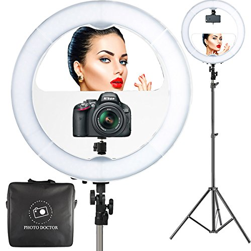 18″ LED Video Ring Light with Mirror, 6ft Stand Tripod, Adjustable Heavy Duty Mount for DSLR, iPhone & Android Smartphones – Professional Studio Photography Dimmable Lighting Kit for Makeup & Youtube