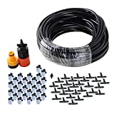 theBlueStone DIY 50FT 30 Nozzles Misting System Kit for Outdoor Swimming Pool Cooling Garden Greenhouse Irrigation Reptile Mosquito Prevent - 50FT with 30PCS Plastic Mist Nozzle Misting System