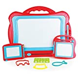 Boley 3 Piece Magnetic Drawing Doodle Board - 16 Inch Magnetized Writing Pad for Kids, Toddlers - Comes with 3 Animal Stencils and 1 Alphabet Stencil - Creative, Educational Toy for Children - Red