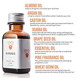 BEARDOHOLIC Premium Quality Beard Oil and Leave-in Conditioner, Softener, Pure Organic Natural, Pine Scented, Promotes Beard Growth and Stops Itchiness  Image 4