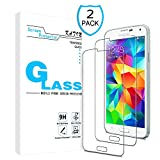 KATIN Galaxy S5 Screen Protector - [2-Pack] Tempered Glass for Samsung Galaxy S5 Screen Protector 9H Hardness with Lifetime Replacement Warranty