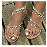 Womens Summer Bohemia Flat Sandals Beads Pearl Beach Clip Toe Flip Flops Flat Bottom Sandals Shoes (42, Brown)